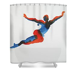 Shower Curtain featuring the painting Ballet Dancer 1 Flying by Shungaboy X