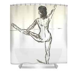 Ballet Dancer With Left Leg On Bar Shower Curtain