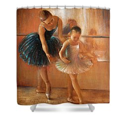 ballet lesson-painting on leather by Vali Irina Ciobanu  Shower Curtain