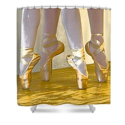 Ballet Second Position In Gold Shower Curtain