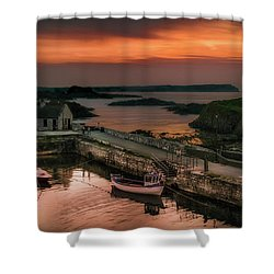Ballintoy Harbour Sunset Shower Curtain