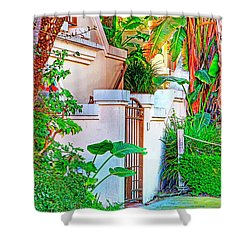 Shower Curtain featuring the photograph Ballona Lagoon Gate by Chuck Staley