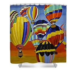 Balloon Expedition Shower Curtain by Donna Blossom