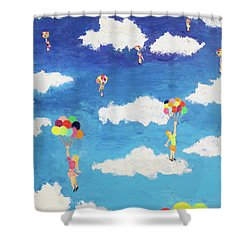Balloon Girls Shower Curtain