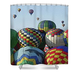 Balloon Traffic Jam Shower Curtain by Marie Leslie