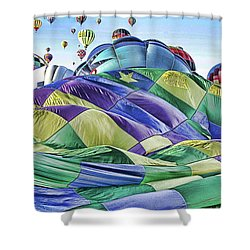 Ballooning Waves Shower Curtain by Marie Leslie