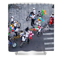 Shower Curtain featuring the photograph Balloons And Bikes by Cameron Wood