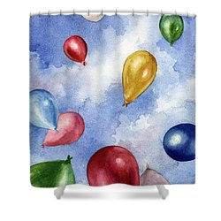 Balloons In Flight Shower Curtain