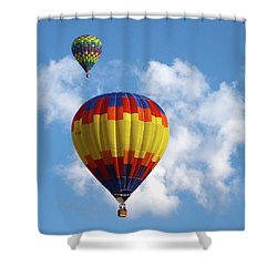 Balloons In The Cloud Shower Curtain by Marie Leslie