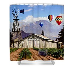 Balloons Over The Winery 1 Shower Curtain
