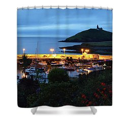 Ballycotton Ireland Marina Harbour And Lighthouse East County Cork Shower Curtain