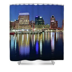 Baltimore Blue Hour Shower Curtain by Frozen in Time Fine Art Photography