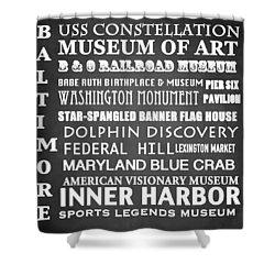 Baltimore Famous Landmarks Shower Curtain