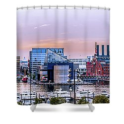 Baltimore In Purple And Orange Shower Curtain by Wayne King