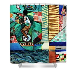 Baltimore Inner Harbor Street Performer Shower Curtain