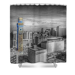 Shower Curtain featuring the photograph Baltimore Landscape - Bromo Seltzer Arts Tower by Marianna Mills