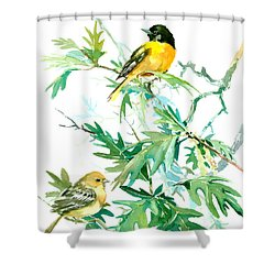 Baltimore Orioles And Oak Tree Shower Curtain by Suren Nersisyan