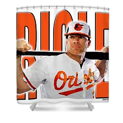 Shower Curtain featuring the digital art Baltimore Orioles by Stephen Younts