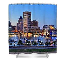 Baltimore Skyline Inner Harbor Panorama At Dusk Shower Curtain