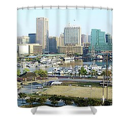 Shower Curtain featuring the photograph Baltimore's Inner Harbor by Brian Wallace