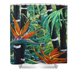 Bamboo And Birds Of Paradise Shower Curtain by Richard T Pranke