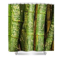 Shower Curtain featuring the photograph Bamboo Graffiti by Leigh Anne Meeks