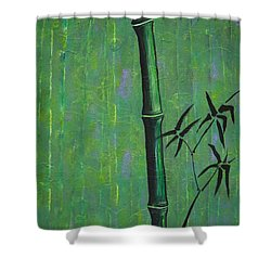 Shower Curtain featuring the painting Bamboo by Jacqueline Athmann