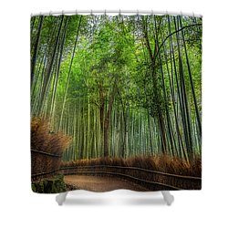 Shower Curtain featuring the photograph Bamboo Path by Rikk Flohr