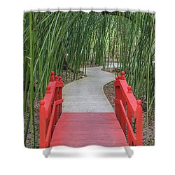 Shower Curtain featuring the photograph Bamboo Path Through A Red Bridge by Raphael Lopez