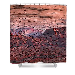 Banded Canyon Abstract Shower Curtain by Judi Suni Hall