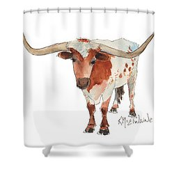 Texas Longhorn Bandero Watercolor Painting By Kmcelwaine Shower Curtain