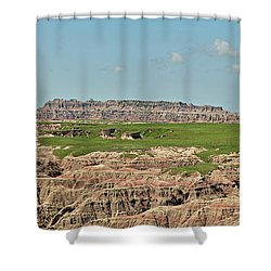 Badlands Panorama Shower Curtain by Nancy Landry