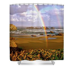 Bandon Beach Rainbow Sunrise Shower Curtain by Ed  Riche