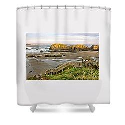 Bandon Beach Stairway Shower Curtain
