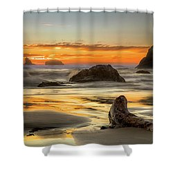Bandon Orange Glow Sunset Shower Curtain