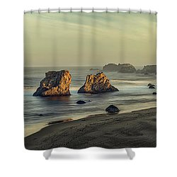 Bandon Sunrise Pano Shower Curtain
