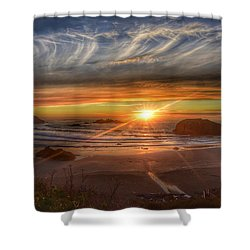 Shower Curtain featuring the photograph Bandon Sunset by Bonnie Bruno
