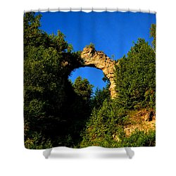 Beneath Arch Rock Shower Curtain by Keith Stokes