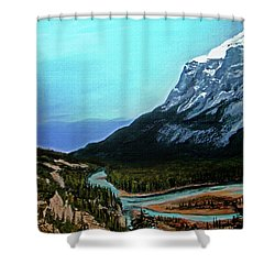 Shower Curtain featuring the painting Banff Alberta Rocky Mountain View by Patricia L Davidson