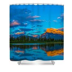 Banff Vermillion Lakes Shower Curtain by John Roberts
