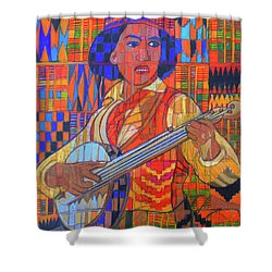 Shower Curtain featuring the painting Banjo-five Strings by Denise Weaver Ross
