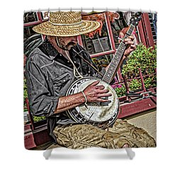 Banjo Man Orange Shower Curtain by Jim Thompson