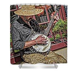 Banjo Man Orange Shower Curtain