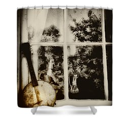 Banjo Mandolin In The Window In Black And White Shower Curtain by Bill Cannon