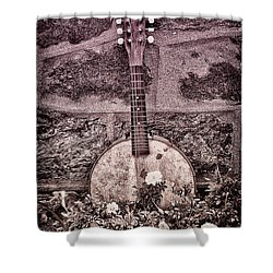 Banjo Mandolin On Garden Wall Shower Curtain by Bill Cannon