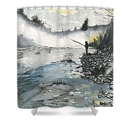 Bank Fishing Shower Curtain