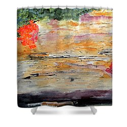 Shower Curtain featuring the painting Bank Of The Gauley River by Sandy McIntire