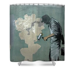 Banksy In New Orleans Shower Curtain
