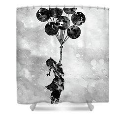 Banksy Inspired Black Shower Curtain