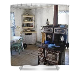 Bannack Ghost Town  Kitchen And Stove - Montana Territory Shower Curtain by Daniel Hagerman